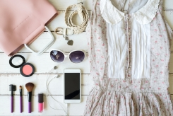 overhead-view-of-womens-cloths-shirt-and-accessories-82169098